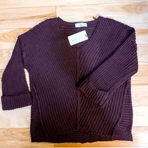 PLUM CHUNKY KNIT SWEATER SIZE-M AMERICAN THREADS